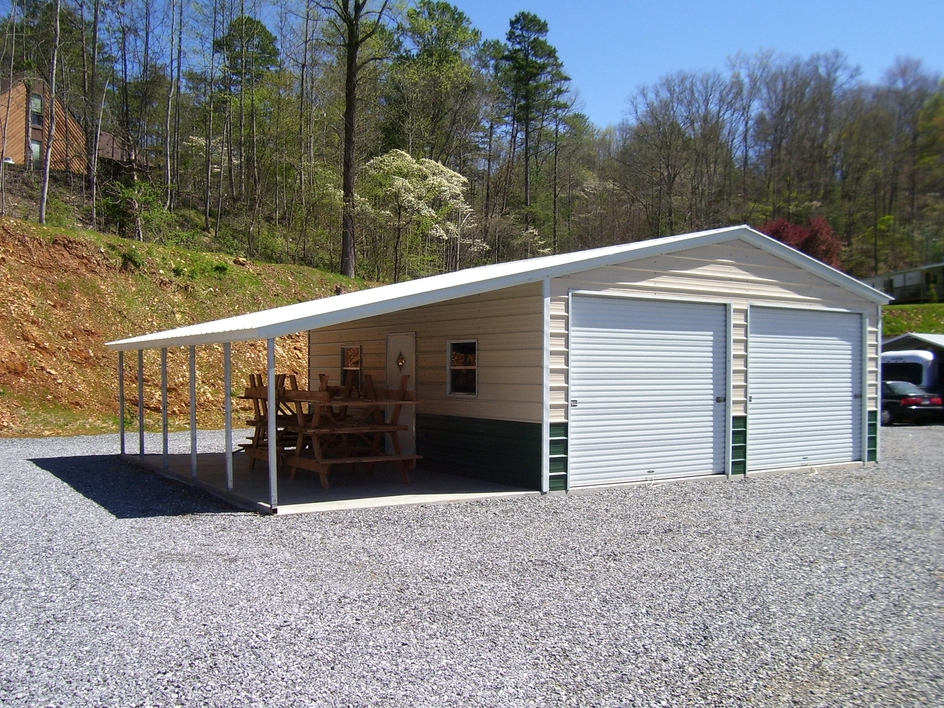 2 Car Metal Carport Flat : Wildcat barns garages rent to own all metal